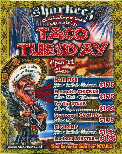 Baja Sharkeez Taco Tuesday Specials