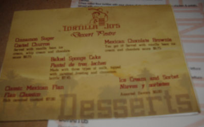 Tortilla Jo's - Old Dessert Menu